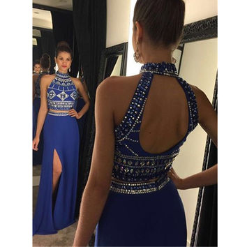 robe de bal longue Royal Blue Crystals Mermaid Prom Dresses Long 2017 Backless Two Pieces Prom Party Dresses ballkleider