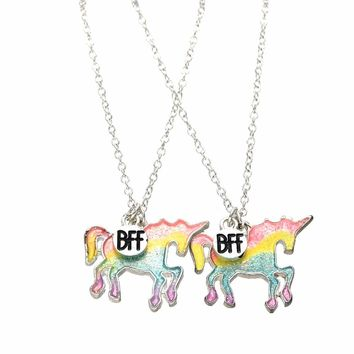 2 Pcs/Set Colorful Rainbow Horse Pendant Best Friends Necklace for Children Kids Glitter Charms BFF Friendship Necklaces