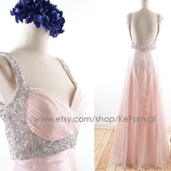 Blush Pink  Prom Dresses Sequins Straps with Crystal , Pink Formal Dresses, Long Chiffon Wedding Party Gown