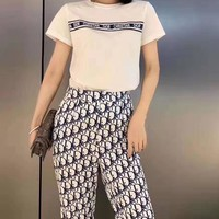 """DIOR""Woman's Leisure  Fashion Letter Printing Spell Color Loose Short Sleeve Wide Leg Pants Trousers Scarf Three-Piece Suit Casual Wear"