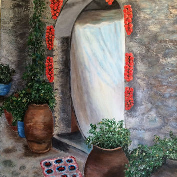 Old Village Chios Greece originally painted canvas acrylic paint pallet knife decorative item holiday birthday Mother's Day Easter gift