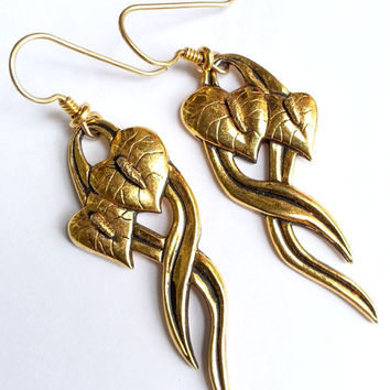 Vintage Laurel Burch Anthurium Earrings - Gold Tone Metal Dangle Earrings - Pierced Earrings - Signed Designer Earrings