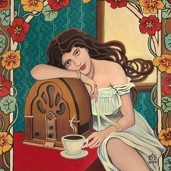 Morning Ritual Coffee and Radio Art Nouveau by EmilyBalivet