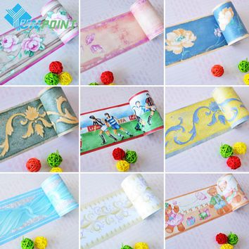 Bathroom waterproof waistline wall stickers room kids decor murals self adhesive wall paper borders pvc stickers wallpaper roll