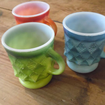 FREE SHIPPING - Fire King Cups/Anchor Hocking Cups/Vintage Cups/Mugs/Mid-Century Cups/Coffee Cups/Vintage Fire King