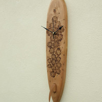 Surboard Hawaiian Hibiscus Flower Design Wall Clock Surfing Aloha! Handmade with Carved Fin VW Camper