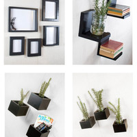 Decor Set - Frame Set, Floating Shelves, and Wall Storage Organizer Boxes - Black, Custom Color Choice