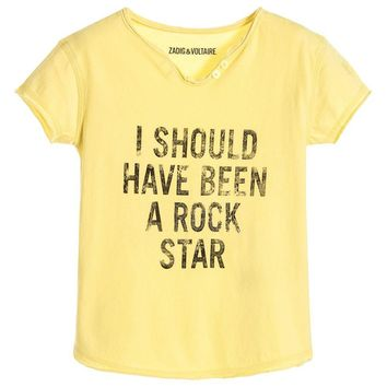 Zadig & Voltaire Girls Yellow 'Rock Star' T-shirt (Mini-Me)