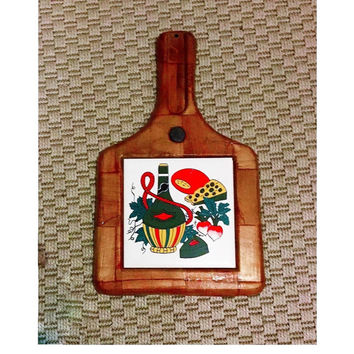 Vintage 1970 Woven Wood Handled Cheese Board with Ceramic Tile Insert Featuring Cheese and Wine / Retro Carry Tray