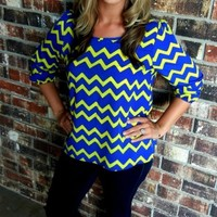 Blue & Neon Yellow Blouse