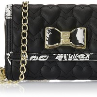 Betsey Johnson Be My Bow Wallet On A String Crossbody in Black