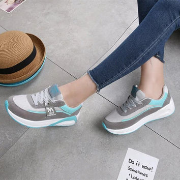 All-match Fashion Casual Women Shoes Multicolor Thick Bottom Sneakers Running Shoes