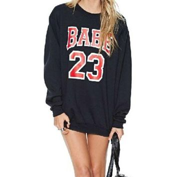 PEAPIX3 Winter Autumn 2014 Casual Loose Pullover Sport Woman Clothes Letter Number 2 3 Printed Sweatshirt Hoodies Tracksuits Women Hoody = 1932344836