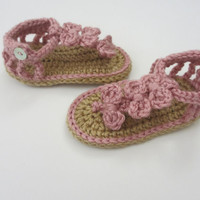 Seaside Sandals - Baby Girl Sandals - Newborn, 3 months, 6 months, 12 months - Pink and Tan - Custom Made - Bow Sandals