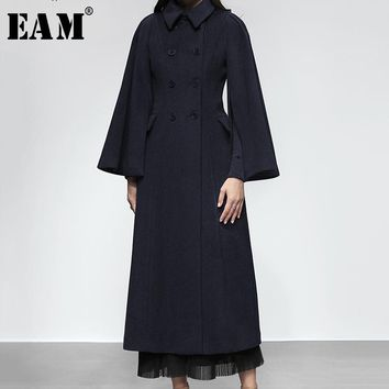 [EAM] 2018 Autumn Winter Woman Solid Color Long Flare Sleeve Turn-down Collar Double Breasted High Wasit Long Loose Coat LE257