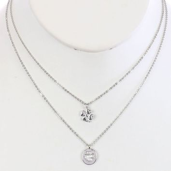 Sliver 2Pc Four Leaf Clover Charm Chain Necklace