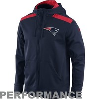 Nike New England Patriots 2013 Player Sideline Nailhead Full Zip Performance Hoodie - Navy Blue