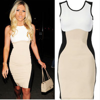 Vixen Boutique — Nude Contrast Bodycon Dress