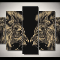 5 Pieces Multi Panel Modern Home Decor Framed Lion Beast Mode Wall Canvas Art