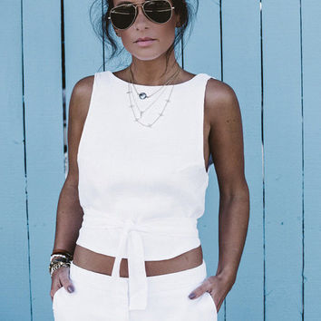 White Linen Top - The Penny Tie Top, Linen Backless Crop Top, High Neck, White Linen
