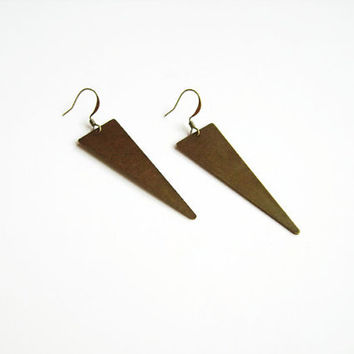 Geometric triangle earrings, Long triangle geometric earrings, Triangle drop earrings, Long brass earrings