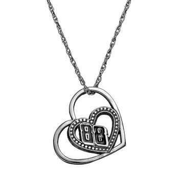 Insignia Collection Nascar Dale Earnhardt Jr. ''88'' Stainless Steel Heart Pendant Necklace (Grey)