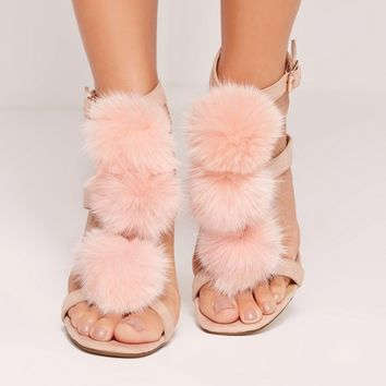 Missguided - Pom Pom T Bar Heeled Sandals Pink