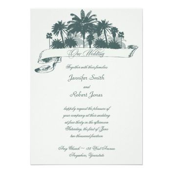 Tropical Palm Tree Scroll Banner Wedding Personalized Invite from Zazzle.com