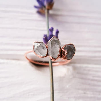 Herkimer diamond ring - Herkimer ring - Crystal ring - Raw crystal ring - Crystal quartz ring - Diamond quartz ring - Rough crystal ring