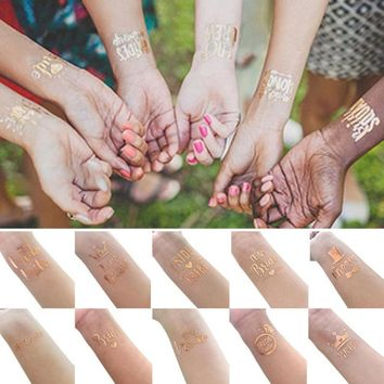 Bride Team Rose Gold Stickers Temporary Tattoo Sticker Decoration Mariage Bride To Be Bridal Party Supplies Wedding Decoration 3