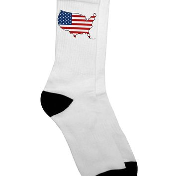 United States Cutout - American Flag Design Adult Crew Socks  by TooLoud