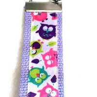Colorful Tossed Owls, Key Fob, Wristlet, Key Ring, Key Chain, Lavender