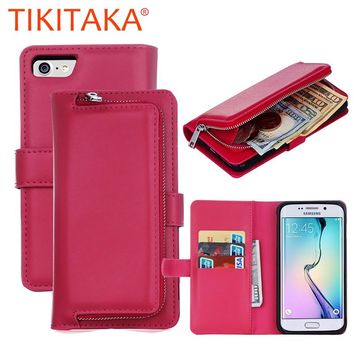 Leather Flip For Iphone 7 6 6s Plus Cover 2 in 1 Multifunction Wallet Case For Samsung Galaxy S5 S6 S7 edge S8 Plus Phone bag