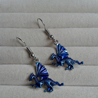 blue silvertone dragon  dangle earrings