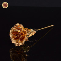 Shining 24k Gold Foil Gold Gilded Forever Roses with Diamond Valentine Day Sweet Gift