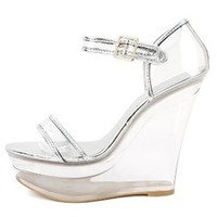 Womens Shoe Republic LA Amador Lucite Wedges SILVER New: In Box