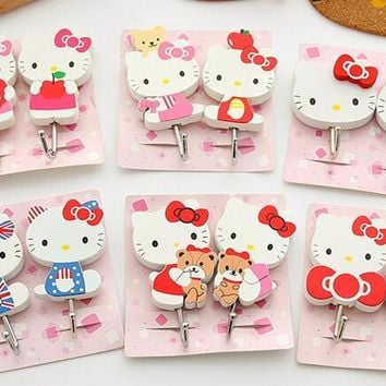 3 Pairs Cartoon Hello Kitty Home Door Wardrobe Key Hanger Kitchen Towel Wall Hook