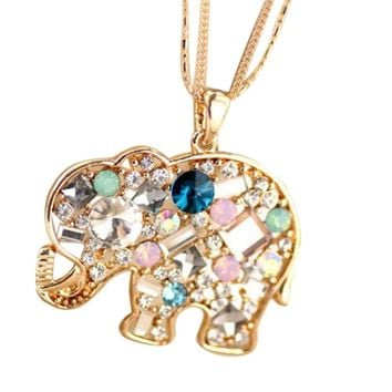 Jewelry Exquisite Crystal Korean Style Lucky Auspicious Elephant Shaped Pendant Necklace