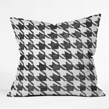 Social Proper Houndstooth BW Throw Pillow