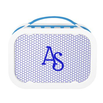Blue pattern. Hexagonal grid. Monogram. Lunch Box