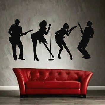 rock band wall decals guitarist wall decals Rock Music wall decals rock wall decals kik2608