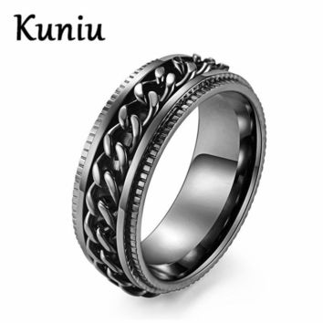 8MM Wide Black Spinner Chain Ring Mens Punk Stainless steel Ring Dropshipping