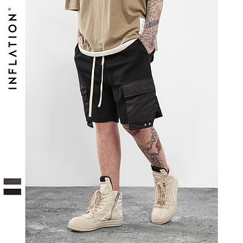 INFLATION 2017 Men's Hightstreet Casual Shorts Streetwear Hip Hop Dance Clothes For Men Black /grey Cotton sweat jogger shorts