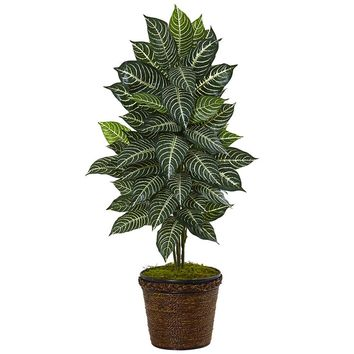 Silk Flowers -4 Inch Zebra In Coiled Rope Planter Artificial Plant