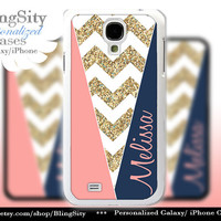 Navy Coral Gold Sparkle Monogram Galaxy S5 case Galaxy S45 Case Note 3 White Chevron Block Zig Zag Personalized Gift *NOT actual Glitter