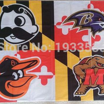Baltimore Ravens Orioles Maryland State Terrapins Natty Boh 3'x5' Flag