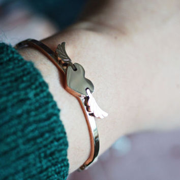 flying heart bangle - rose gold titanium