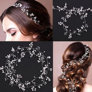 New Wedding Headband Head Crowns Flower Party Wedding Hair Accessories For Women Bridal Crown Bride Tiara Romantic