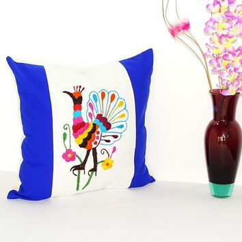 Bohemian Pillows, Otomi cushion cover, Mexican pillow cover in white and Blue