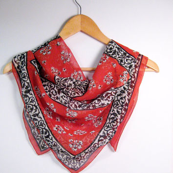 Vintage Scarf Bright Rusty Red Black White Floral